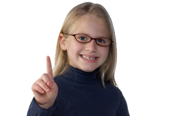 Young girl with glasses holding up a number one.